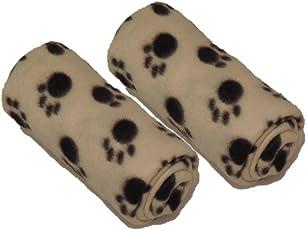 2 Kuschelige Hundedecken 70x70cm, Katzendecken / Decken für Hunde oder Katzen aus Fleece - 2x beige