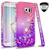 LeYi Hülle Galaxy S6 Edge Glitzer Handyhülle mit Full Cover 3D PET Schutzfolie(2 Stück),Diamond Rhinestone Bumper Schutzhülle für Case Samsung Galaxy S6 Edge Handy Hüllen ZX Gradient Pink Purple
