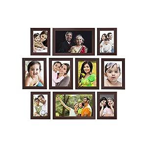 Amazon Brand - Solimo Collage Photo Frames, Set of 10,Wall Hanging (4 pcs - 4x6 inch, 4 pcs - 5x7 inch, 2 pcs - 6x10 inch),Brown