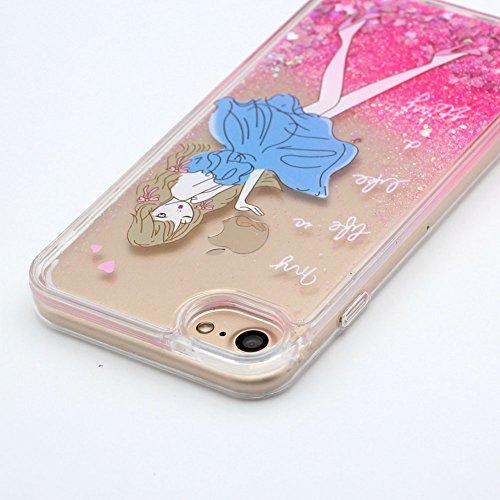 Cover Liquido per Apple iPhone 7 / 8 Plus , Keyihan Ragazza Donna Custodia Rosa Style Divertenti Brillantini Glitter Bling Liquid Flowing Case in Plastica Rigida e Silicone Morbido (Palloncino) Ragazza
