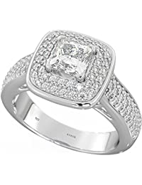925 Sterling Silver Ladies Dazzling Halo Wedding Engagement Ring