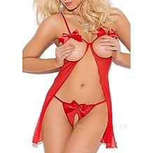 Lencería Erotica Sexy ❤️ LuckyGirls Mujer Bowknot Entrepierna Abierta Babydoll Ropa Interior Atractivo Camisón + Tangas Tallas Grandes(S~5XL)