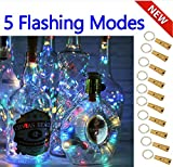 5 Dimmbare Licht-Effekte Intelligente Weinflaschen-10er Pack 20 LED Silber-Kupferdraht Fairy String Batteriebetrieben Lichterketten,für DIY,Party,Dekoration, Weihnachten,Hochzeiten(4 Farben Steay)