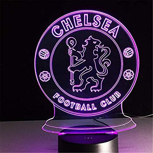 HYDYI LED Chelsea Football Club 3D Lampe USB 7 Farbe Cool Glowing Basis Dekoration Tischlampe Kinder Schlafzimmer Nachtlichter -
