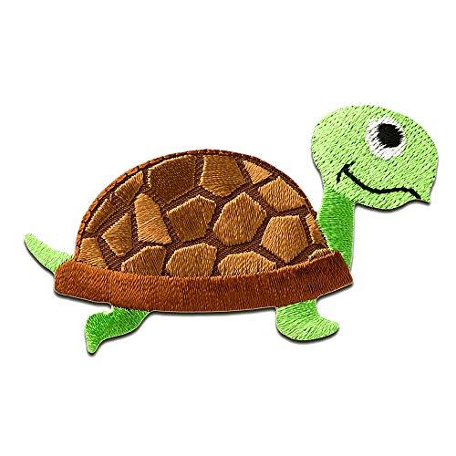 Aufnäher/Bügelbild - Schildkröte Tier - braun - 7,3x4,1cm - Patch Aufbügler Applikationen zum aufbügeln Applikation Patches Flicken