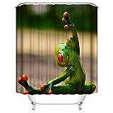 HUIYIYANG Badvorhänge für Duschvorhang Natur Tropischer Regenwald vibrierender Baum Frosch Benutzerdefinierte Wasserdichte Mehltau Proof Digital Gedruckte Badezimmer Vorhänge 60
