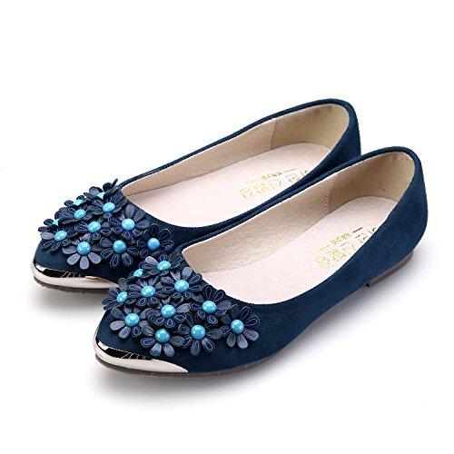 Smilun Damen Klassische Ballerina Flach Ballett Blumen Deko Glänzende Metall Spitze Blau