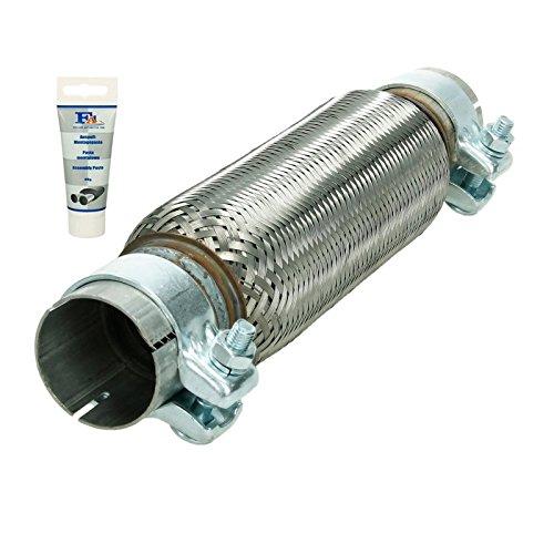 Universal Flexrohr - 55 x 250 mm - mit 2 Schellen - aus Edelstahl - Interlock - Montage ohne Schweißen + Auspuff-Montagepaste 60g - flexibles Rohr - Flexstück Wellrohr Hosenrohr Auspuff Abgasanlage