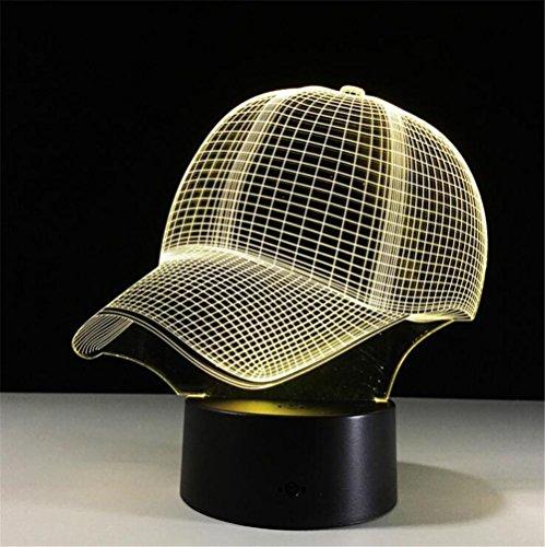 H&M Kreativ 3D Schreibtisch-Lampen-Tabellen-Licht-kreatives H&M Kreativ-Kinderzimmer-Raum-Visualisierungs-Glühen 7 Farben-Änderung USB-Noten-Knopf Intelligente Fernbedienung Bedside Atmosphere Skulptur-Lampe (Hut)