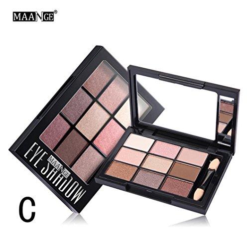 Gaddrt Cosmétique Matte fard à paupières crème maquillage palette miroiter Set 9 couleur + pinceau ensemble (C)