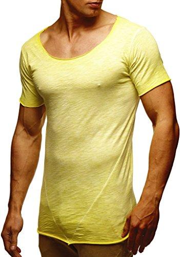 LEIF NELSON Herren Sommer T-Shirt Rundhals-Ausschnitt Slim Fit Baumwolle-Anteil   Moderner Männer T-Shirt Crew Neck Hoodie-Sweatshirt Kurzarm lang   LN6353N Verw. Gelb Medium