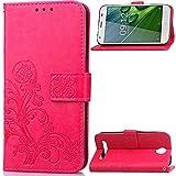 Schutzhülle Für Acer Liquid Z6 (5.0 zoll) , pinlu® Handyhülle Hohe Qualität PU Ledertasche Brieftasche Mit Stand Function Innenschlitzen Design Glücklich Klee Muster Rot