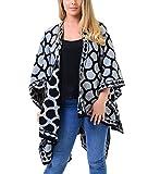 Islander Fashions Womens Reversible Kreis Jaquard Strick Schal Damen Fancy Wrap Cardigan Poncho Cape Grau Einheitsgr��e f�r EU 36-54