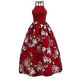 OverDose Damen Urlaub Reisen Stil Frauen Floral Bedrucktes Langes Kleid Sleeveless Party Abend Strandzeremonie Open Back Schlank Maxi Kleid(Weinrot ,EU-38/CN-XL)