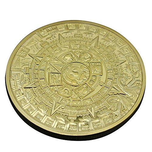 Pinzhi1X Gold Versilbert Aztec Maya Kalender Gedenkmünze Souvenir Sammlung Geschenk -