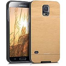 kwmobile Funda rígida de alta calidad para Samsung Galaxy S5 / S5 Neo / S5 LTE+ / S5 Duos con refuerzo de aluminio pulido en la parte trasera en oro
