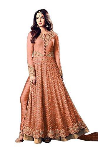 Ethnic Empire Women Net Bollywood Designer Semi-Stitched Salwar Suit (EthnicNew_ERTY11053_peach_Free Size)
