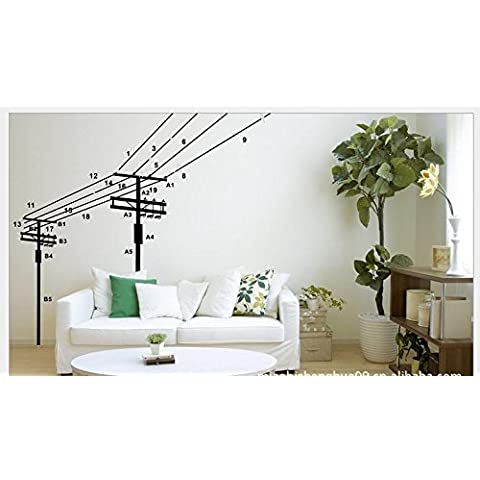 T-Mida calda e romantica decorazione,Palo verde ornamento domestico PVC autoadesivo della parete (06 * 90)
