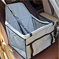 Jiaxingo Durable Pet Booster Seat,Dog Protector Car Seat with Adjustable Safety Straps and Zipper Storage Pocket-Suitable for Small and Medium Pets up-Grey