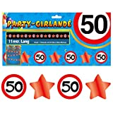 Deko Set 42 tlg. 50.Geburtstag Party Box Dekoration Glitter Girlande Luftballons - 7