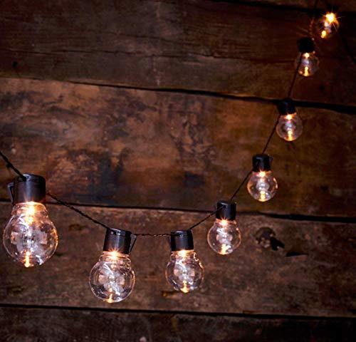 Bulb String Lights, 10 LED Plastic Festive Lights Festoon Lights Batteriebetriebenes Schwarzes Kabel mit 2 Beleuchtungsarten Warmweiß -