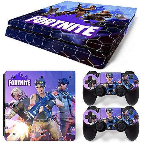 RemyCoo PlayStation 4 Slim Populaires Fortnite Battle Royale Autocollant En Peau De Couverture pour PS4 Slim Console + 2 Peaux Pour Contrôleurs PS4 Slim – Bleu