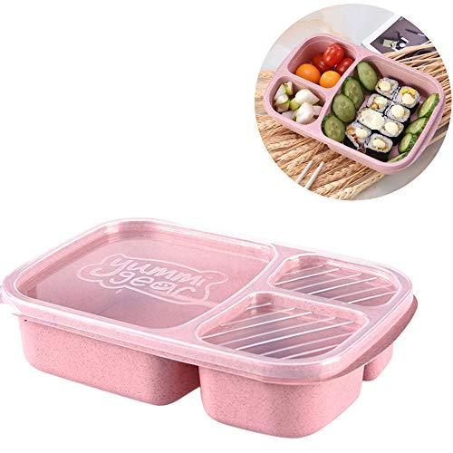 VNEIRW Weizen Stroh Bento Boxen Microwaveable Lunch Container mit Deckel, Bequem Aufbewahrungsbox Lunchbox Mittagessen Box Geschirr mit 3 Fächern (Rosa) - Erwachsenen-lunch-box Rosa