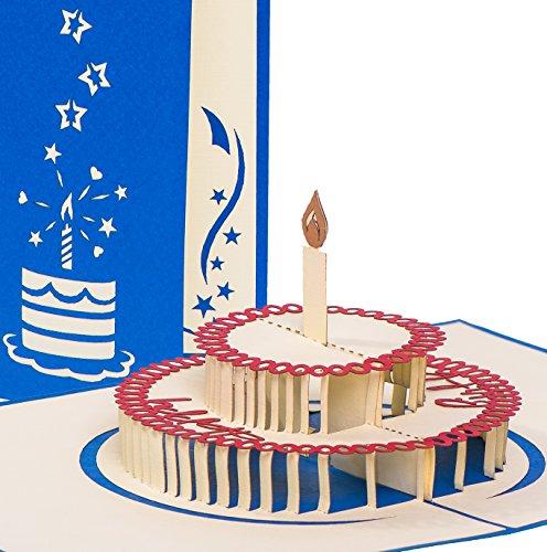"""Pop-Up Geburtstagskarte """"Happy Birthday mit Torte"""" (Handmade)"""