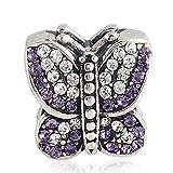 Schmetterlings-Charmanhänger mit australischen Kristallen, 925er-Sterlingsilber, Tier-Design, für Hochzeitstag, Charm für Pandora-Armband