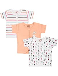Life by Shoppers Stop Girls Round Neck Striped, Solid and Printed Top Pack of 3