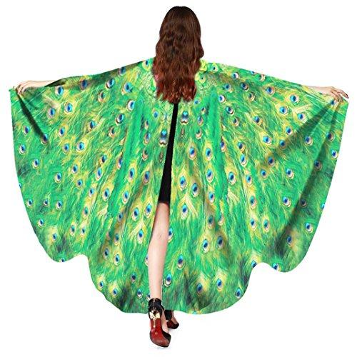 Dragon868 Frauen Pfau Flügel Schal Schals Damen Nymphe Pixie Poncho Kostüm Zubehör Cosplay Accessoires Umhang 168*135CM (Grün)