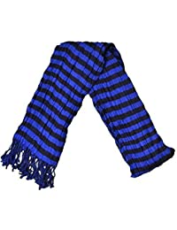 Mens Scarf With Check & Strip Design On Either Side, With Tassles 210cms x 45cm, Blue