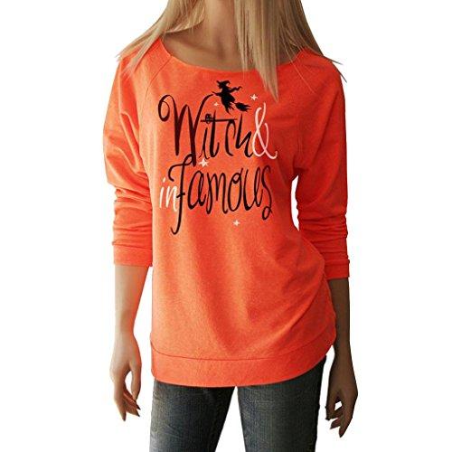 Amlaiworld Fröhliches Halloween Orange locker Sweatshirt damen mit aufdruck Schläger kürbis pullover warm weich Herbst Winter pulli halloween kostüm (XL, A)