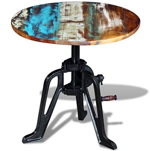 Festnight Table à café en métal Le Style Industriel en Bois de récupération Massif 60 x (42-63) cm Table auxiliaire