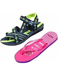 Indistar KRS Men Sandal And Step Care Flip Flop And House Slipper For Women -Set Of 2 Pairs