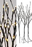 LED Lichterzweige 3er Set - 60 warmweisse LED für Innen und Außen geeignet - Weihnachtsdeko Zweige