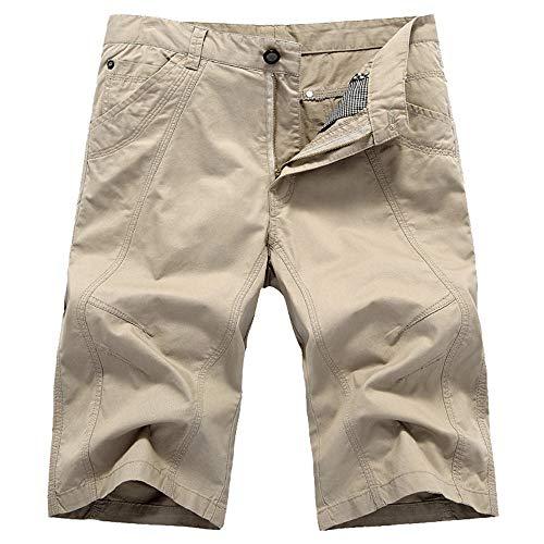 Aiserkly Herren Cargo Shorts Wadenlange Sporthose mit Reißverschlusstasche Kampfhose Kurze BroadclothHosen (Stretch-vinyl-stoff)