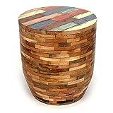 Wuona Objects Holz Hocker 45 cm, Bali altes Teakholz, massiv, verschiedene Farben, Schemel Stuhl Bootsholz Shabby Chic