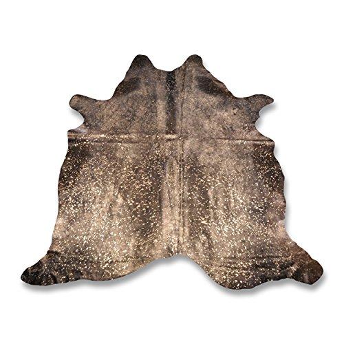 Premium Kuhfell-Teppich - L225 x B220 cm - schwarz gold gesprenkelt - einmaliges Naturprodukt aus Südamerika