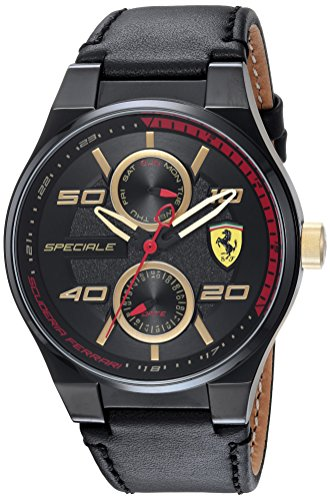 Scuderia Ferrari Men's 'SPECIALE MULTI' Quartz Resin and Leather Casual Watch, Color:Black (Model: 0830418)