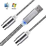 Asmuse™ MIDI a USB Cable de Interfaz Convertidor MIDI de Configuración Automática con LED para Instrumento Eléctrico Teclado de Piano a PC Mac Windows 5 PIN In Out (1,9 m-Tejiendo)