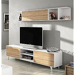 Mueble de salón completo estilo nórdico, (medida tv: 180cm ancho x 51cm altura x 41cm fondo)