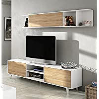 Mueble de salón completo estilo nórdico, módulo TV con estantería color blanco brillo y roble canadian para salón comedor (medida tv: 180cm ancho x 51cm altura x 41cm fondo)
