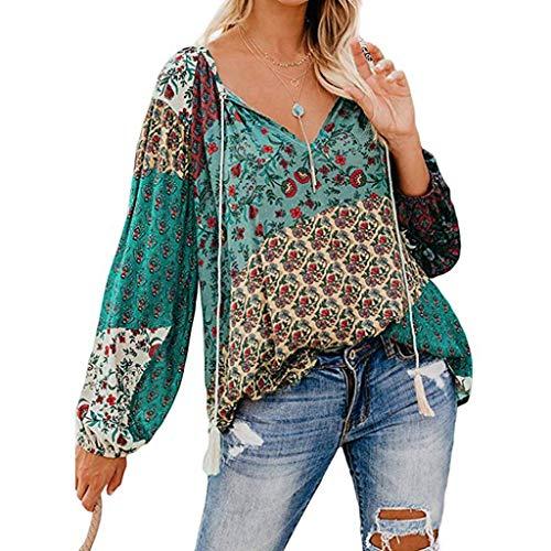 GOKOMO Mode Frauen Blumendruck V-Ausschnitt Langarm-Shirts Beiläufige lose Blusen Tops(Grün,X-Large)