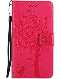DENDICO Galaxy J7 2017 Hülle, PU Leder Handyhülle mit Standfunktion und Kartenfach, Katze und Baum Muster Magnetverschluss Flip Brieftasche Etui TPU Schutzhülle für Samsung Galaxy J7 2017 - Pink
