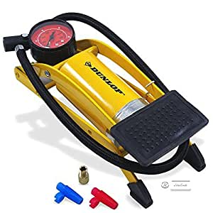 Dunlop - pompa a pedale, pompa ad aria, pompa da bicicletta e auto, pompa a pedale con manometro