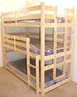 3 Tier Triple Bunkbed - 3ft Single Triple sleeper Bunk Bed - VERY STRONG BUNK - Contract Use - heavy duty use