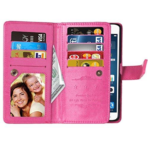 Flip LG X Power Case Folio Case Solid Farbe Premium Synthetik-Leder-Kasten-Standplatz-Mappen-Kasten-Kasten mit 9 Karten-Bargeld-Slots für LG X Power ( Color : Pink , Size : LG X POWER ) Pink