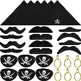 30 Pièces Patches d'oeil de Capitaine de Pirate, Pirate Bandana, Boucles d'oreilles...