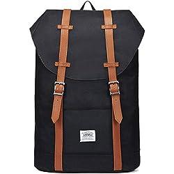 "KAUKKO Mochila Casual Mochila de Estudiante Ligero 16"" Laptop Bolsa al Aire Libre para Viajar/Deporte/Cámping (Negro)"